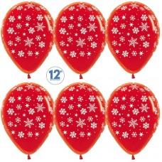Воздушный шар падающие снежинки красный кристалл (30 см)