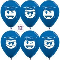 Воздушный шар Выпускник эмоджи синий металлик (30 см)