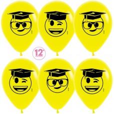 Воздушный шар Выпускник эмоджи желтый пастель (30 см)