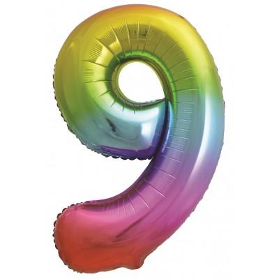 Цифра 9 яркая радуга градиент (86 см)
