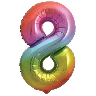 Цифра 8 яркая радуга градиент (86 см)