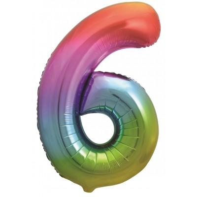 Цифра 6 яркая радуга градиент (86 см)