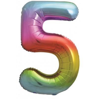 Цифра 5 яркая радуга градиент (86 см)