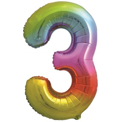Цифра 3 яркая радуга градиент (86 см)
