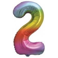 Цифра 2 яркая радуга градиент (86 см)