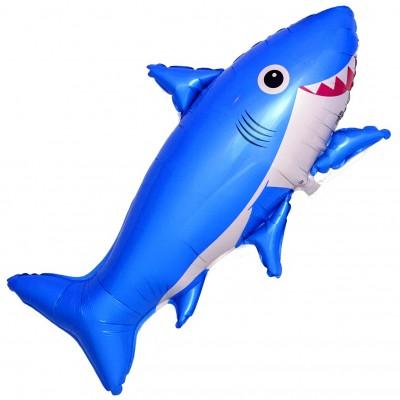 Фольгированный воздушный шар-фигура Счастливая акула синий (99 см)