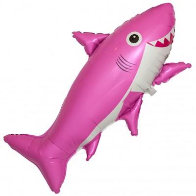 Фольгированный воздушный шар-фигура Счастливая акула розовый (99 см)