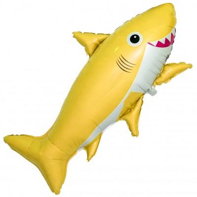 Фольгированный воздушный шар-фигура Счастливая акула желтый (99 см)