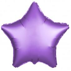 Однотонный фольгированный воздушный шар-звезда фиолетовый сатин (53 см)