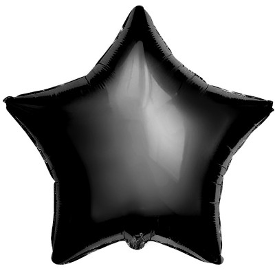 Однотонный фольгированный воздушный шар-звезда черный (53 см)