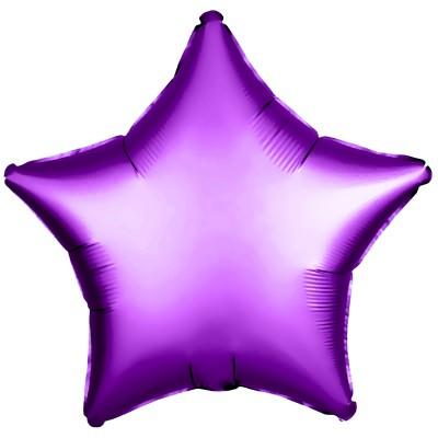 Однотонный фольгированный воздушный шар-звезда фиолетовый (53 см)
