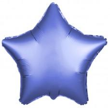 Однотонный фольгированный воздушный шар-звезда синий сатин (53 см)