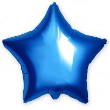 Однотонный фольгированный воздушный шар-звезда синий (53 см)
