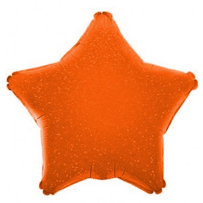 Однотонный фольгированный воздушный шар-звезда оранжевый голография (46 см)
