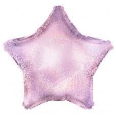 Однотонный фольгированный воздушный шар-звезда розовый голография (46 см)