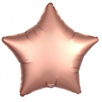 Однотонный фольгированный воздушный шар-звезда медь сатин (53 см)