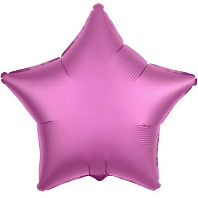 Однотонный фольгированный воздушный шар-звезда Гранатовый светлый сатин (53 см)