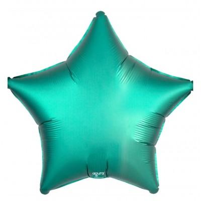Однотонный фольгированный воздушный шар-звезда бискайский зеленый сатин (53 см)