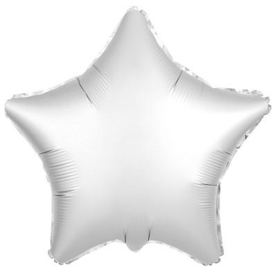 Однотонный фольгированный воздушный шар-звезда Белый жемчуг сатин (53 см)