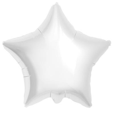 Однотонный фольгированный воздушный шар-звезда белый (53 см)