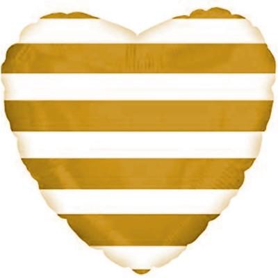 Фольгированный воздушный шар-сердце Золотые полосы (46 см)