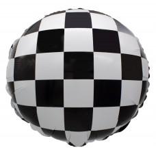 Фольгированный воздушный шар-круг Гоночный флаг шахматная клетка черно-белый (46 см)