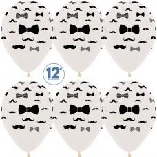 Воздушный шар Джентльмен (усы и галстук-бабочка) прозрачный кристалл (30 см)