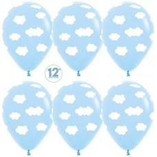 Воздушный шар Облака светло-голубой пастель (30 см)