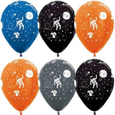 Воздушный шар Космические приключения ассорти металлик (30 см)