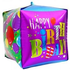Фольгированный воздушный шар-куб С Днем Рождения (воздушные шарики) (53 см)