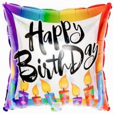 Фольгированный воздушный шар-квадрат С Днем Рождения (горящие свечи) (46 см)