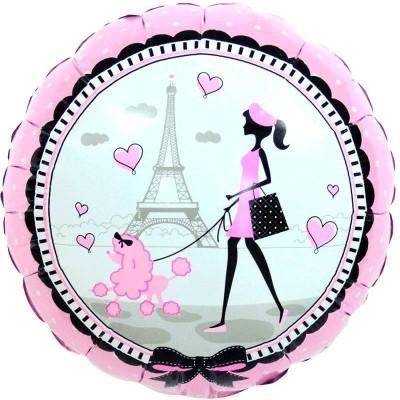 Фольгированный воздушный шар-круг Парижанка розовый (46 см)