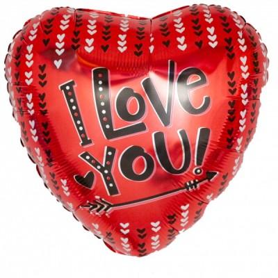 """Фольгированный воздушный шар-сердце """"Я люблю тебя"""" (стрела и сердечки) красный (46 см)"""