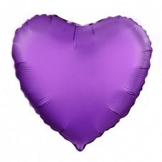 Однотонный фольгированный воздушный шар Сердце фиолетовый (48 см)