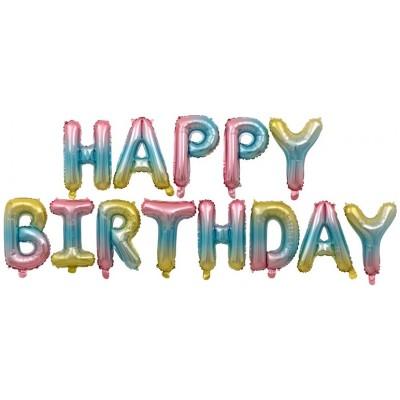 """Фольгированный шар-фигура мини-надпись """"Happy Birthday"""" нежная радуга градиент (41 см)"""