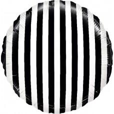 Фольгированный воздушный шар-круг Белые полоски черный (46 см)