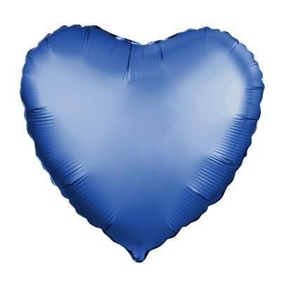 Однотонный фольгированный воздушный шар Сердце лазурь сатин (48 см)