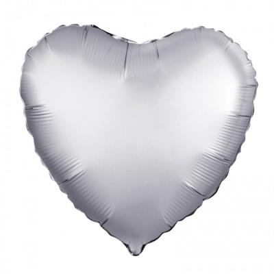 Однотонный фольгированный воздушный шар Сердце платина сатин (48 см)