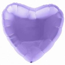 Однотонный фольгированный воздушный шар Сердце аметист (48 см)