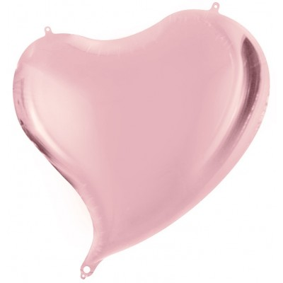 Однотонный фольгированный воздушный шар Сердце с изгибом розовое золото (46 см)