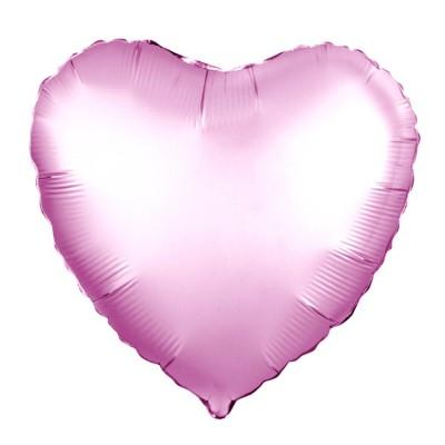 Однотонный фольгированный воздушный шар-сердце Розовый сатин (48 см)