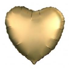 Однотонный фольгированный воздушный шар Сердце золотое сатин (48 см)