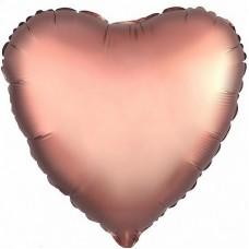 Однотонный фольгированный воздушный шар Сердце медь сатин (48 см)