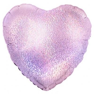 Однотонный фольгированный воздушный шар-сердце розовый голография (46 см)
