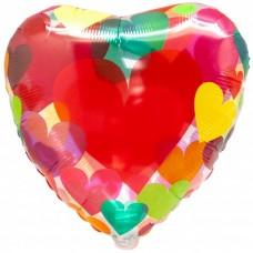 Фольгированный воздушный шар Сердце с разноцветными сердечками прозрачный (46 см)