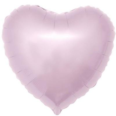 Однотонный фольгированный воздушный шар-сердце светло-розовый (48 см)