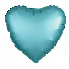 Однотонный фольгированный воздушный шар-сердце Бискайский зеленый сатин (48 см)