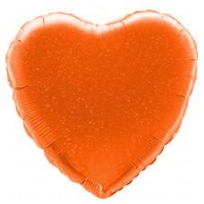 Однотонный фольгированный воздушный шар Сердце оранжевый голография (46 см)