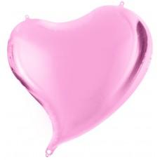 Однотонный фольгированный воздушный шар-сердце с изгибом розовый (46 см)