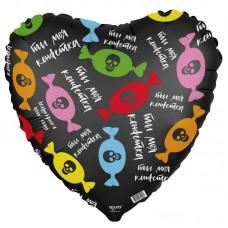 """Фольгированный воздушный шар-сердце """"Ты моя конфетка"""" черный (48 см)"""